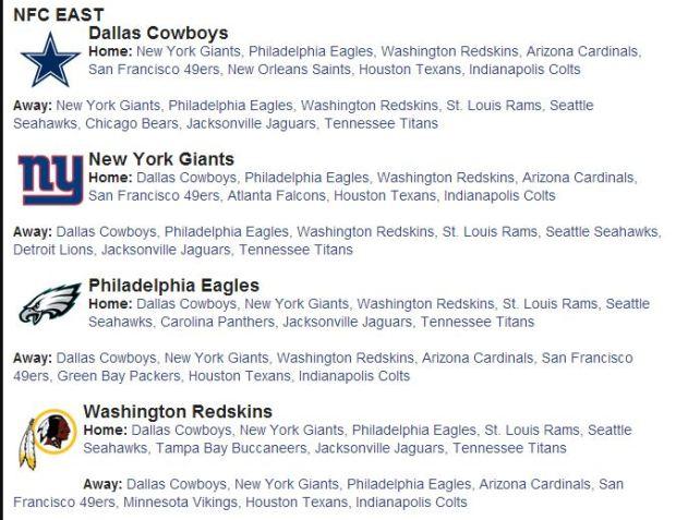 Dallas Cowboys Schedule 2014 2015