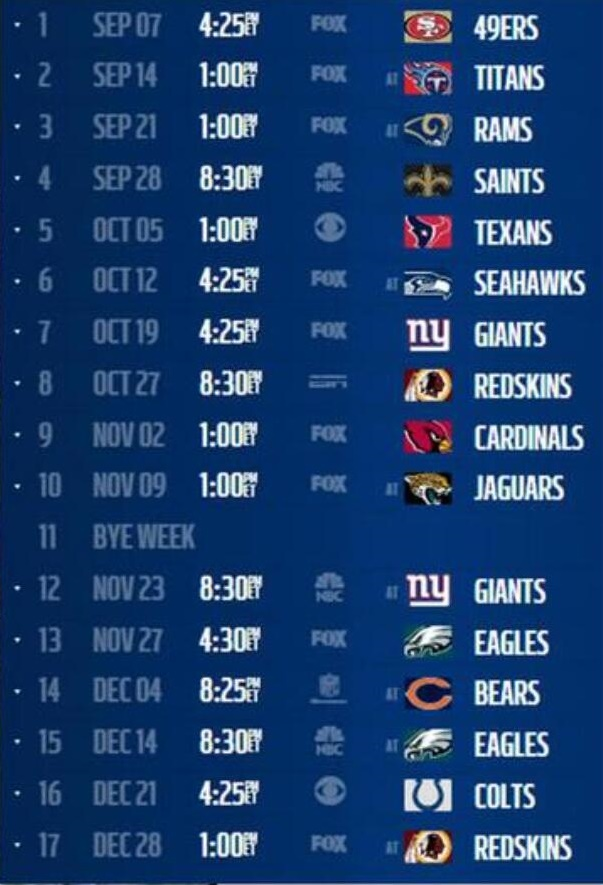 Dallas Cowboys Schedule The Boys Are Back