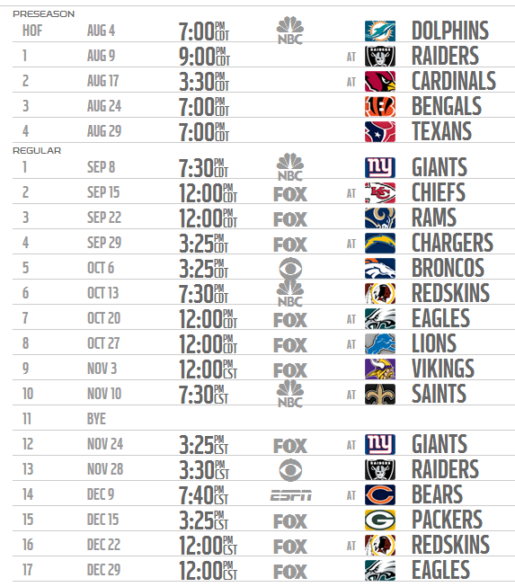 Dallas Cowboys 2013-2014 Preseason and Regular Season NFL Schedule