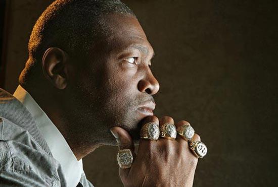 Dallas Cowboy Hall of Famer Charles Haley sports five Superbowl rings