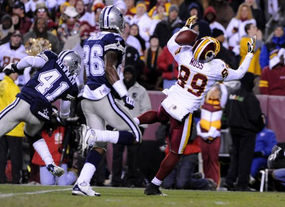 Dallas Cowboys rival Santana Moss of the Washington Redskins