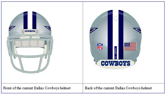 DALLAS COWBOY UNIFORM - Dallas Cowboys helmet - Front and back of the current Dallas Cowboys NFL helmet - Dallas Cowboy helmet