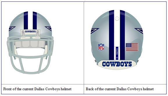 DALLAS COWBOY UNIFORM - Dallas Cowboys helmet - Front and back of the current Dallas Cowboys NFL helmet - Dallas Cowboy helmet