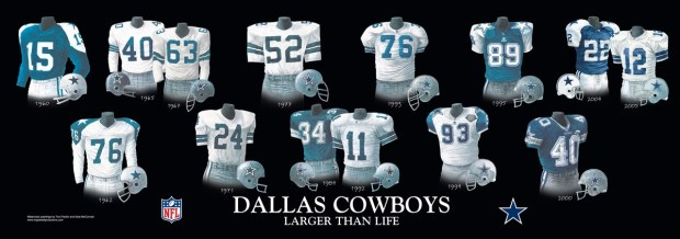 DALLAS COWBOY UNIFORM - Dallas Cowboys uniforms jersey and helmet from 1960 thru 2000 - Throwback thru Modern Dallas Cowboy uniforms, jerseys, and helmets - Dallas Cowboys uniform jersey helmet history