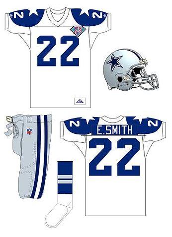 Dallas Cowboy uniforms - NFL 75th anniversary Dallas Cowboys uniform with helmet - Dallas Cowboys NFL 75th throwback uniform 1994