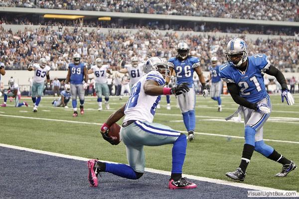 Dallas Cowboy WR Diamond Dez Bryant scores his second TD against the Detroit Lions