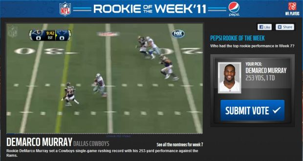 VOTE for the Pepsi Rookie of the Week - Click on picture