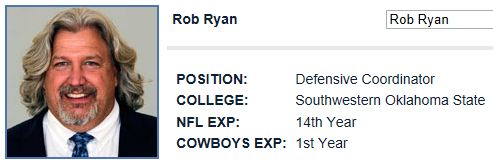 Rob Ryan - Dallas Cowboys defensive coordinator