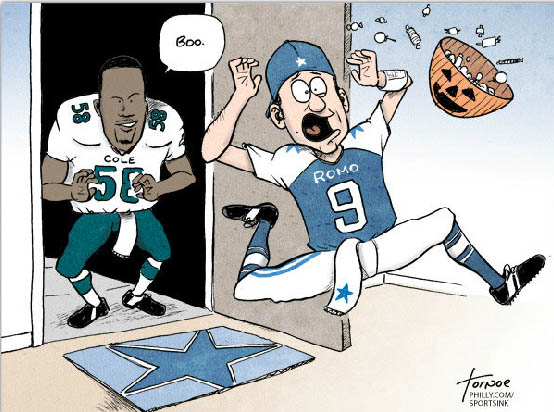 Tony Romo vs Eagle Cole Halloween cartoon