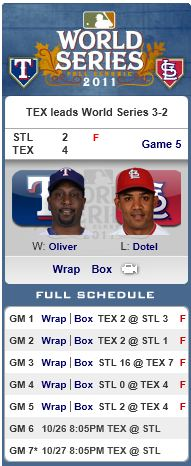 World Series 2011 - Rangers win Game 5