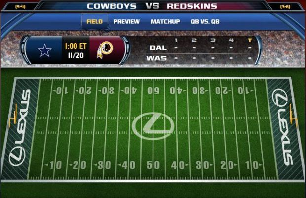 Fox Gametrax - Cowboys vs Redskins - Click for game trackers