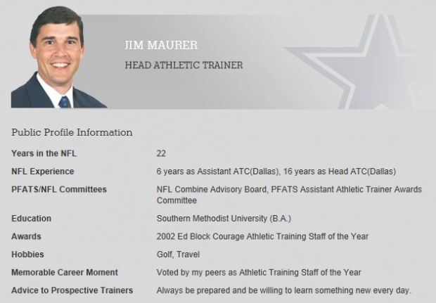 Staff Profile - Jim Maurer - Dallas Cowboys head athletic trainer