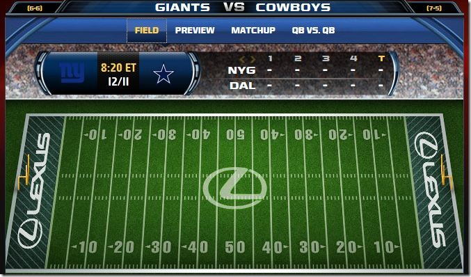 Fox Gametrax - Cowboys vs Giants