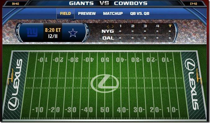 Fox Gametrax - Cowboys vs Giants