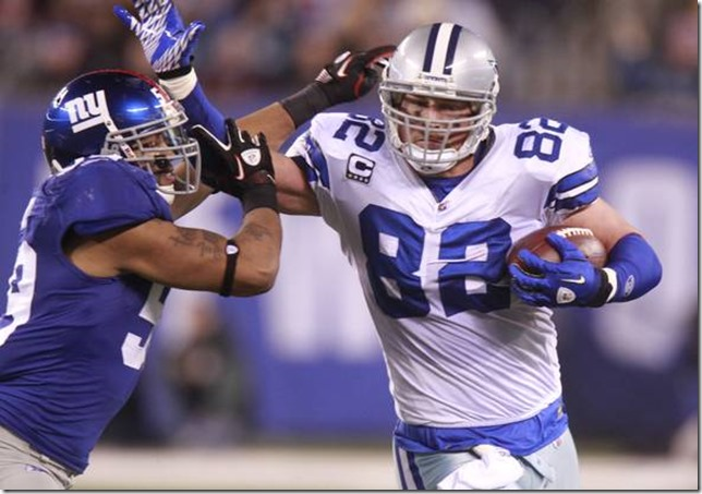 THE CAREER OF JASON WITTEN: Jason Witten (right) fights off New York Giants linebacker Michael Boley during the Cowboys-Giants game at MetLife Stadium in East Rutherford, N.J., on January 1, 2012.