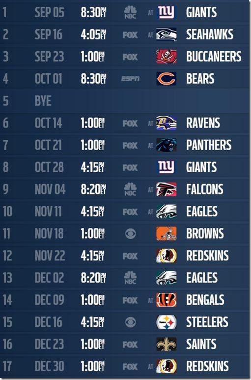 2012-13 Dallas Cowboys schedule