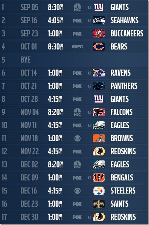 NOTE: Week #17 game with Washington Redskins (December 30) has been