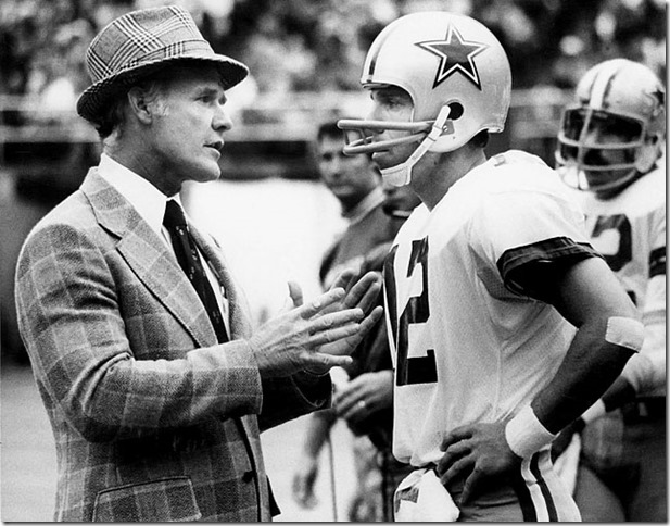 Dallas Cowboy Tom Landry coaches Dallas Cowboys quarterback Roger Staubach - The Boys Are Back blog