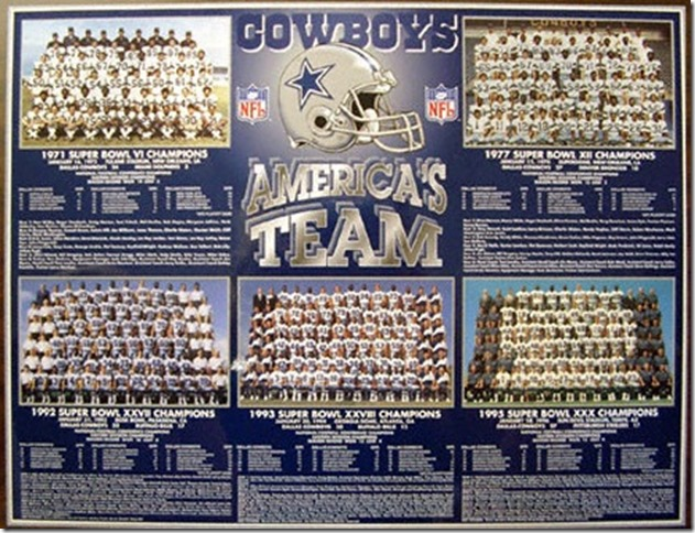 Dallas Cowboys - Americas Team -Five super bowl rosters - The Boys Are Back blog