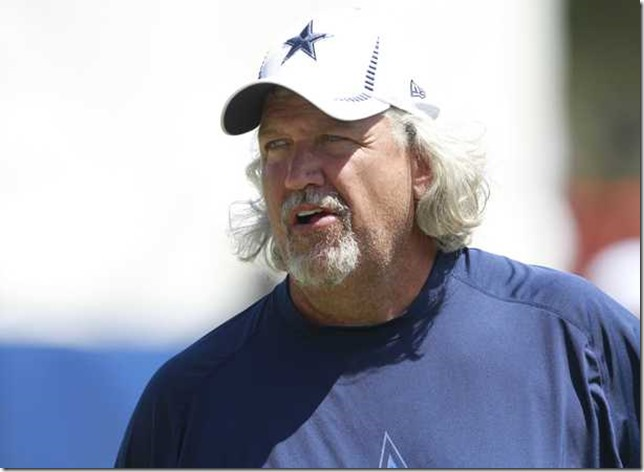 Dallas Cowboys defensive coordinator Rob Ryan at the early practice during Dallas Cowboys Training Camp - (Star-Telegram Ron Jenkins) - The Boys Are Back blog