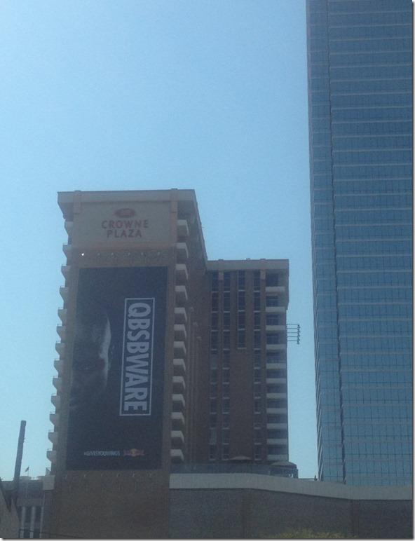 Dallas Cowboys DeMarcus Ware - qbsbware billboard - The Boys Are Back blog - DeMarcus Ware billboard in downtown Dallas. (Jon Machota)