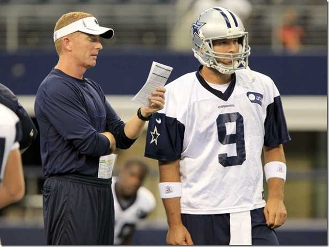 Dallas Cowboys head coach Jason Garrett talks with Dallas Cowboys quarterback Tony Romo - The Boys Are Back blog
