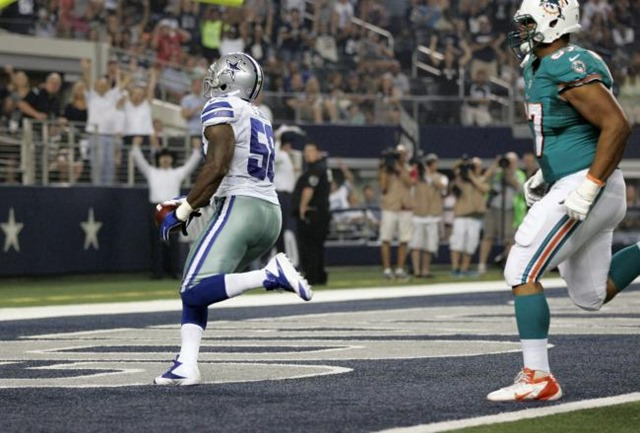 Dallas Cowboys linebacker Orie Lemon scores on interception - The Boys Are Back blog