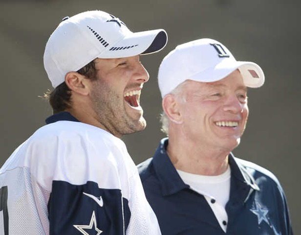 Dallas Cowboys quarterback Tony Romo (9) and Cowboys owner Jerry Jones laugh during Dallas Cowboys training camp - The Boys Are Back blog