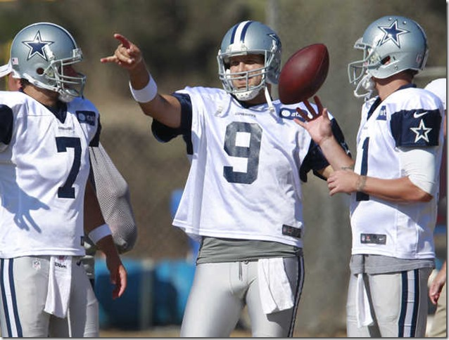 Dallas Cowboys quarterbacks Stephen McGee (7) Tony Romo (9) and Rudy Carpenter (right) during Dallas Cowboys training camp - The Boys Are Back blog