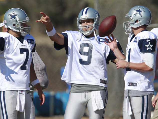 Dallas Cowboys quarterbacks Stephen McGee (7) Tony Romo (9) and Rudy Carpenter (right) during Dallas Cowboys training camp - The Boys Are Back blog