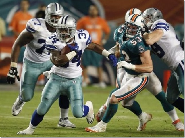 Dallas Cowboys running back Phillip Tanner (34) runs against Miami Dolphins - The Boys Are Back blog