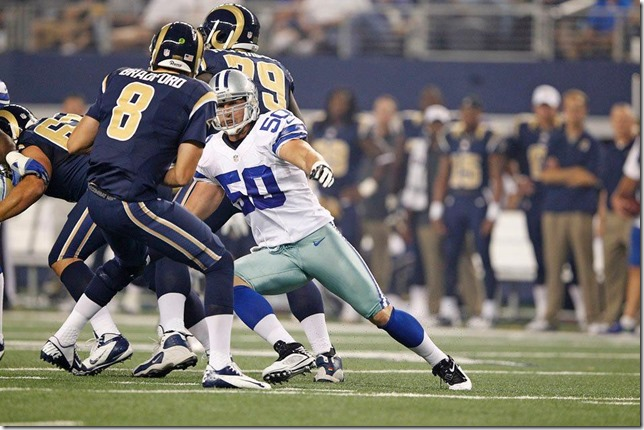 Dallas Cowboys Sean Lee pressures St Louis Rams QB Sam Bradford - The Boys Are Back blog