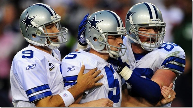 Dallas Cowboys Tony Romo and Jason Witten congratulate kicker Dan Bailey - The Boys Are Back blog