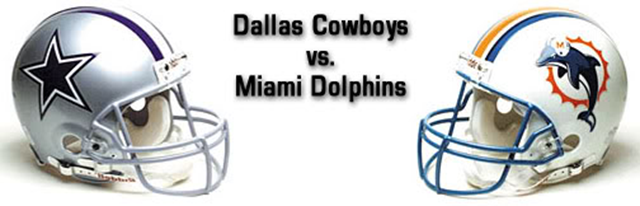 Dallas Cowboys vs Miami Dolphins helmets