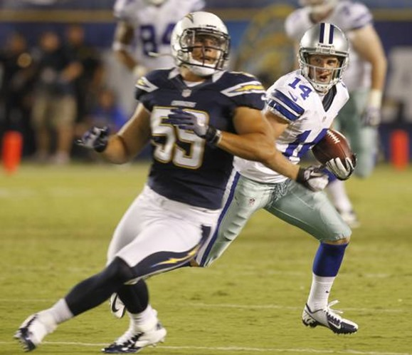 Dallas Cowboys wide receiver Cole Beasley (14) runs past San Diego Chargers linebacker Andrew Gachkar - The Boys Are Back blog