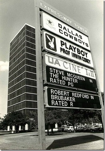 The Dallas Playboy Club at Expressway Tower, near SMU, in 1980. The Dallas Cowboys team offices were also there. The building now houses SMU school offices. (Eliot Kamenitz | Dallas Morning News) - The Boys Are Back blog