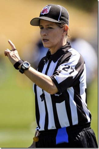 NFL official Shannon Eastin works during the Seahawks' NFL football training camp in Renton, Wash. The Associated Press examines six of the top questions that will be answered in the preseason starting on Thursday, Aug. 9, including how replacement referees will perform while traditional officiating crews are locked out due to labor negotiations. Photo: Seattle Seahawks, Rod Mar / AP