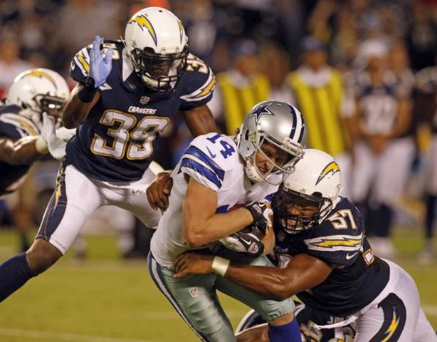 San Diego Chargers cornerback De'Andre Presley (39) and linebacker Jonas Mouton (57) hit Dallas Cowboys wide receiver Cole Beasley - The Boys Are Back blog