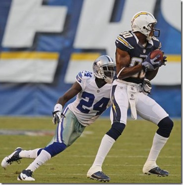 San Diego Chargers wide receiver Malcom Floyd (80) catches a pass in front of Dallas Cowboys cornerback Morris Claiborne - The Boys Are Back blog