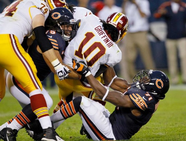 Washington Redskins quarterback Robert Griffin III (10) is tackled by Chicago Bears defensive end - The Boys Are Back blog