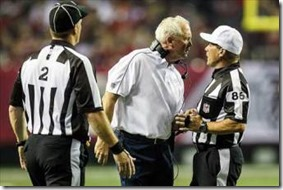 Broncos coach John Fox talks to referee during loss to Atlanta - The Boys Are Back blog