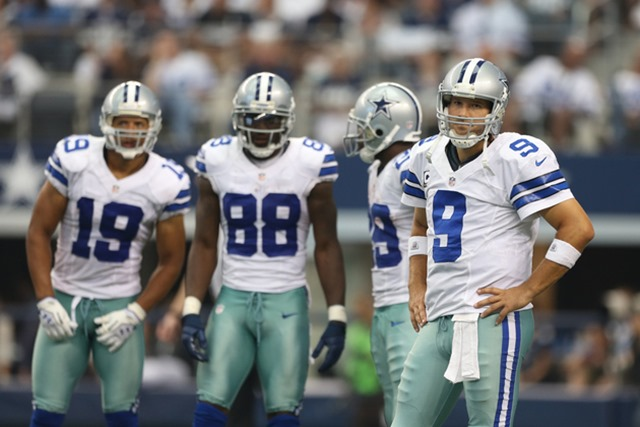 Sep 23, 2012; Arlington, TX, USA; Dallas Cowboys quarterback Tony Romo (9) in the huddle with receiver Miles Austin (19) Dez Bryant (88) DeMarco Murray (29) in the second half against the Tampa Bay Buccaneers at Cowboys Stadium. Mandatory Credit: Matthew Emmons-US PRESSWIRE