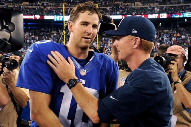 Dallas Cowboys head coach Jason Garrett, right, talks to New York Giants quarterback Eli Manning - The Boys Are Back blog
