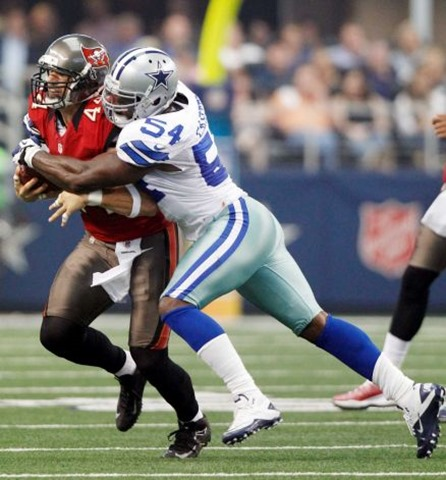 Dallas Cowboys inside linebacker Bruce Carter (54) tackles Tampa Bay Buccaneers tight end Dallas Clark - The Boys Are Back blog