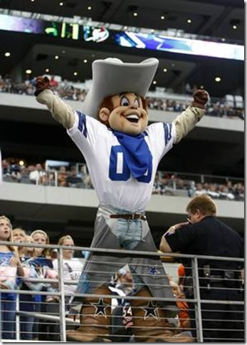 Dallas Cowboys mascot Rowdy gets the fans fired up at Cowboys Stadium - The Boys Are Back blog