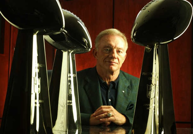 Dallas Cowboys owner and President Jerry Jones with the Super Bowl trophies from games XXVII, XXVIII, and XXX - The Boys Are Back blog