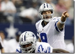 Dallas Cowboys quarterback Tony Romo (9) instructs his teammates - left - The Boys Are Back blog