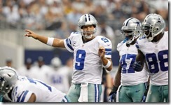 Dallas Cowboys quarterback Tony Romo (9) instructs his teammates - right - The Boys Are Back blog
