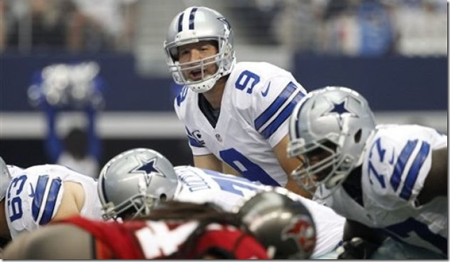 Dallas Cowboys quarterback Tony Romo (9) makes a call at the line of scrimmage - The Boys Are Back blog