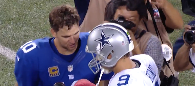 GAME REWIND - Eli Manning and Tony Romo meet after the game - The Boys Are Back blog